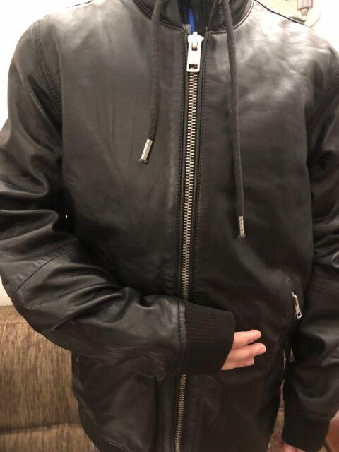 fb155b16cfa7 NEW MEN'S $598 Diesel Mens Hooded Leather Lambskin Jacket Akura Black Zip  ...