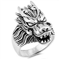 Men's Dragon Sterling Silver Biker Ring - Sizes 7-13