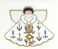 Wildflowers Angel With Charm Hp Needlepoint Canvas Ornament Painted Pony