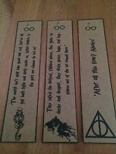 Harry Potter Bookmarks. Dark Mark,Deathly Hallows.  Set of 3.
