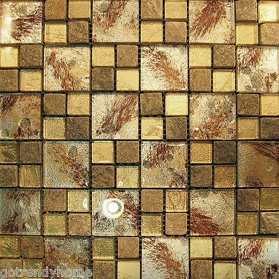 1SF- Gold Metallic Backing Glass & Mineral Stone Mosaic Tile Backsplash Kitchen
