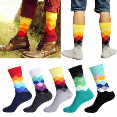 Fashion Mens Colorful Cotton Happy Socks Warm Diamond Casual Dress Socks Breathy