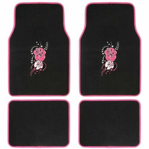 New Pink Hawaiian Flowers Car Seat Covers Floor Mats /& Steering Wheel Cover Set