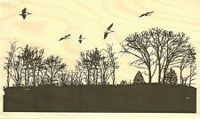 Trees With Birds, Wood Mounted Rubber Stamp IMPRESSION OBSESSION - NEW, G7814