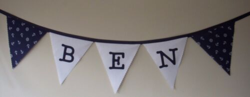Blue// White Nautical Personalised Fabric Bunting Birthday Party £2 per letter