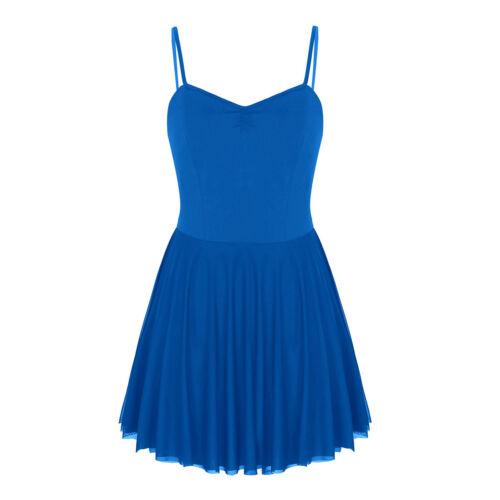Women Adult Ballet Dance Leotard Spaghetti Straps Gymnastics Dancewear Skirts