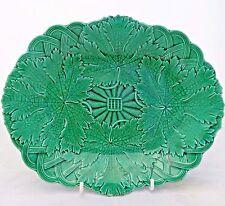 Antique Wedgwood Green Glazed Majolica Grape Leaf Vine Basket Dish Plate c 1860