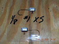 50 1/8 Tube Jigs Mustad Bronze Hooks 2 1 1/0 2/0 3/0 4/0 You Choose