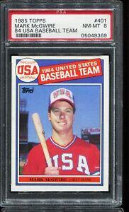 1985-Topps-Baseball-401-MARK-McGWIRE-Team-USA-RC-ROOKIE-PSA-8-NM-MT