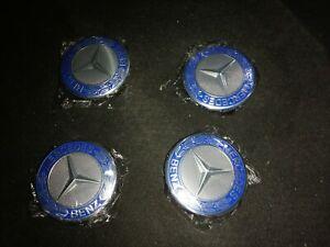 4-Coprimozzi-Coppette-Mercedes-75-mm-Blu-coprimozzo-coppetta