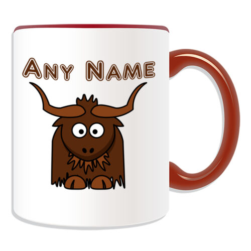 Personalised Gift Yak Mug Money Box Cup Name Message Tea Coffee Silly Bull Ox
