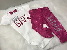 Baby Girl, 18 Months, Little Diva Custom Name Outfit, 3pc Set, Clothes Lot