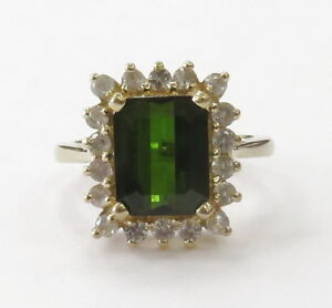 14k-Yellow-Gold-Green-Stone-Halo-Style-Ladies-Ring-5-3g