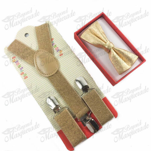 USA Seller Soft Gold Suspender and Bow Tie Set for Adults Men Women Teens