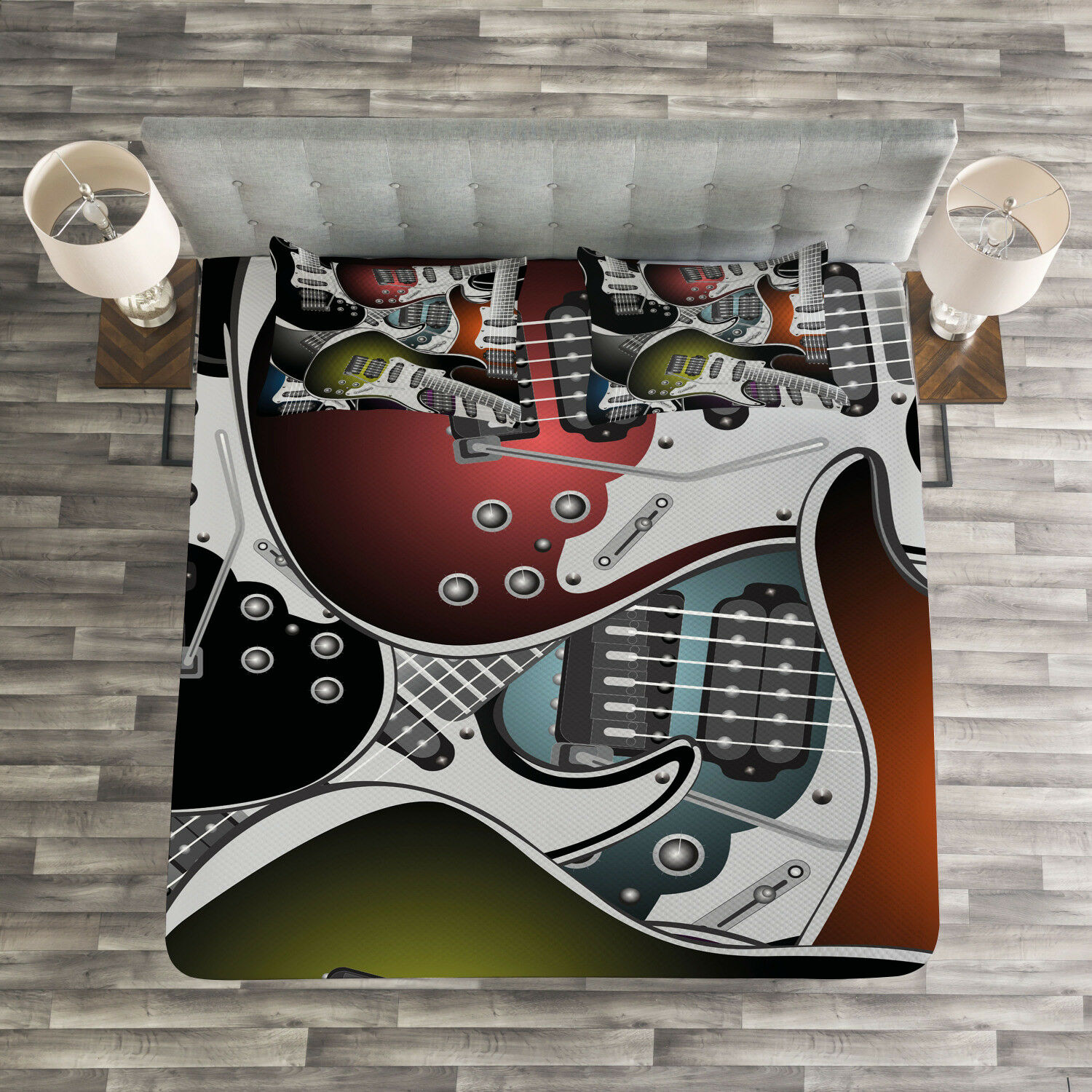 Popstar Party Quilted Bedspread & Pillow Shams Set, Farbeful Guitars Print