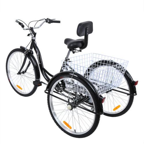 Ridgeyard 26/'/' 7-Speed Adult Tricycle Bicycle Basket Cruise Steel//Aluminum Frame