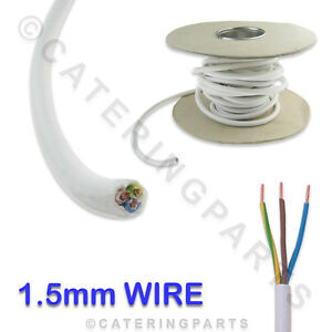 954a150be934 Details about 3M of 3 CORE 1.5mm HEAT RESISTANT 90°C HIGH TEMPERATURE WHITE  MAINS WIRE CABLE