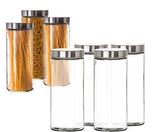 4x Vorratsgläser 2,2L groß mit Edelstahldeckel Aufbewahrungsglas Pasta Dosen Set