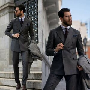 Fashion-Men-039-s-Suits-Grey-Tuxedos-Double-Breasted-For-Wedding-Business-Formal-New