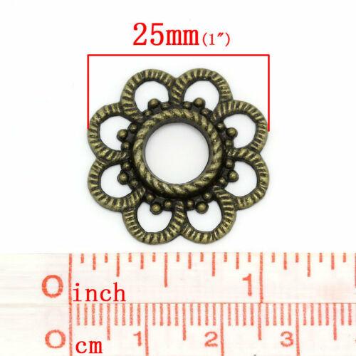 4 x Schmuck Verbinder Blume Bronze 25x26mm
