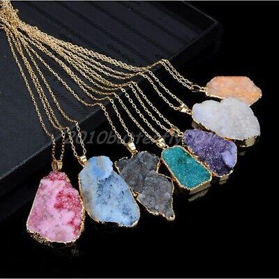 Natural Crystal Quartz Healing Point Chakra Bead Gemstone Necklace Pendant HOT
