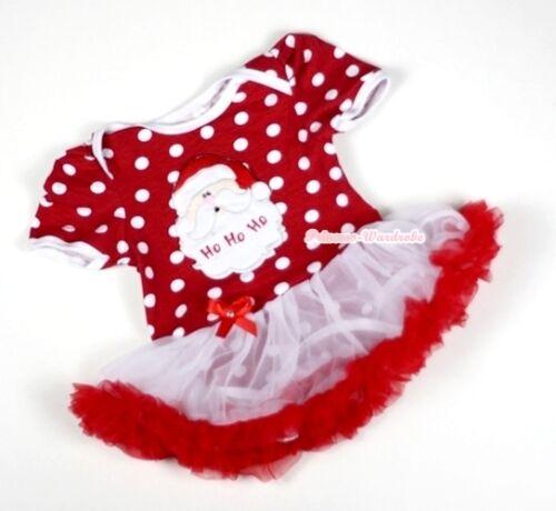 XMAS Baby Minnie Red White Dot Romper Pettiskirt SANTA CLAUS Jumpsuit Set NB-12M