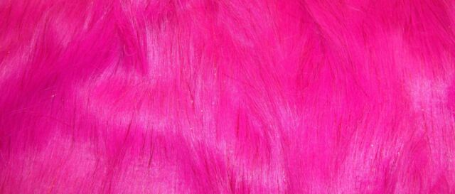 """HOT PINK FAUX FUR LONG PILE SPARKILING TINSEL 58"""" INCHES WIDE FABRIC BY THE YARD"""