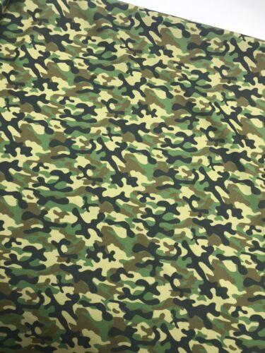 4 Metres Green Camo Print Scuba Crepe Fabric