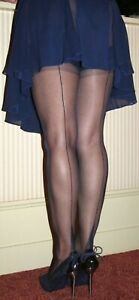 GIO BLACK FF Fully Fashioned Point Heel Seamed Stockings
