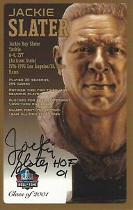 Jackie Slater Los Angeles Rams  Football Hall Of Fame Autographed Bust Card