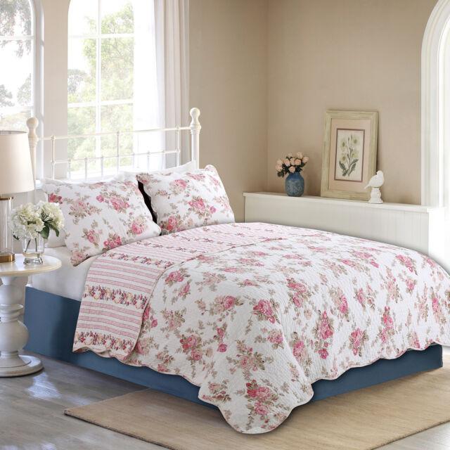 Pylle Hill Floral Reversible 100/%Cotton 3-Piece Quilt Set Coverlet Bedspread