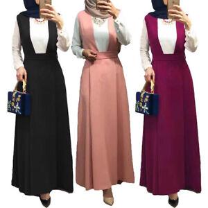 Muslim-Women-High-Waist-Suspender-Skirt-Long-Maxi-Casual-Loose-Overalls-Skirts