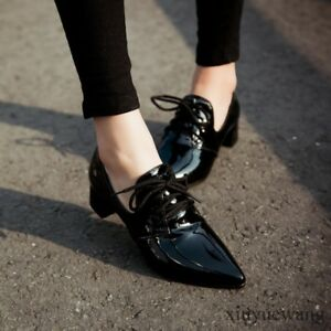 Patent-Leather-Womens-Shoes-Pointy-Toe-Lace-Up-Low-Block-Heel-Work-Oxfords-Size