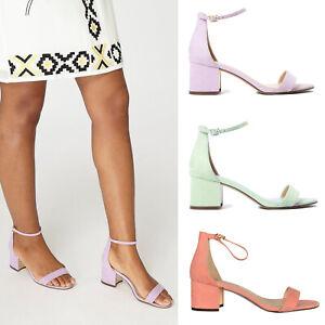 ab25371dfec Ex Dorothy Perkins Mint Peach Lilac Block Heel Sandals Suede Size 3 ...