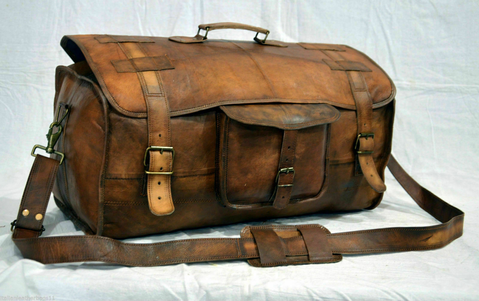 leather bag men Brown handmade travel luggage vintage overnight weekend duffel