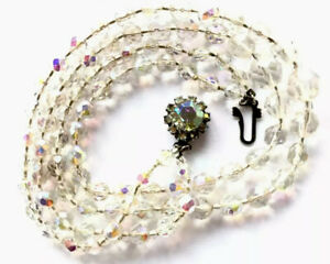 Vintage 1950 Double String Aurora Borealis Faceted Crystal Glass Bead Necklace