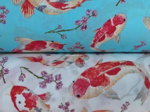 Koi Fish Cotton Poplin Fabric Rose And Hubble Dress Quilting Patchwork GBSB