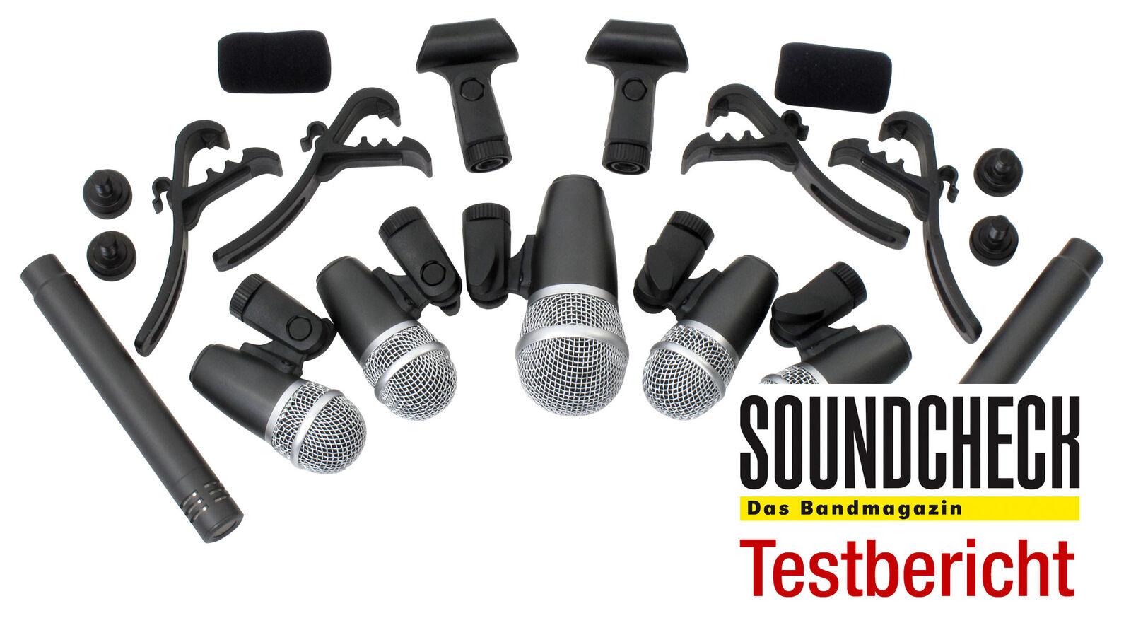 7-batería piezas micrófono set drum micrófono maleta maleta micrófono 1 Bass Drum 4 Tom 1 overhead 88f478