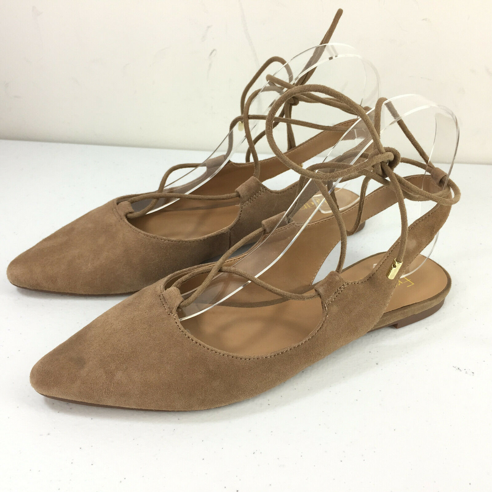 Franco Sarto 7.5 Brown Suede Ballet Flats Lace UP Ankle EUC Simone Career casual