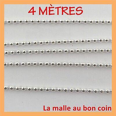 4 M DE CHAÎNE BOULES BILLES ARGENTÉE POUR FABRICATION diamètre1,5 mm-cba001