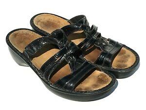 Naot-Women-039-s-Size-9-9-5-EU-40-Black-Leather-Slip-On-Sandals