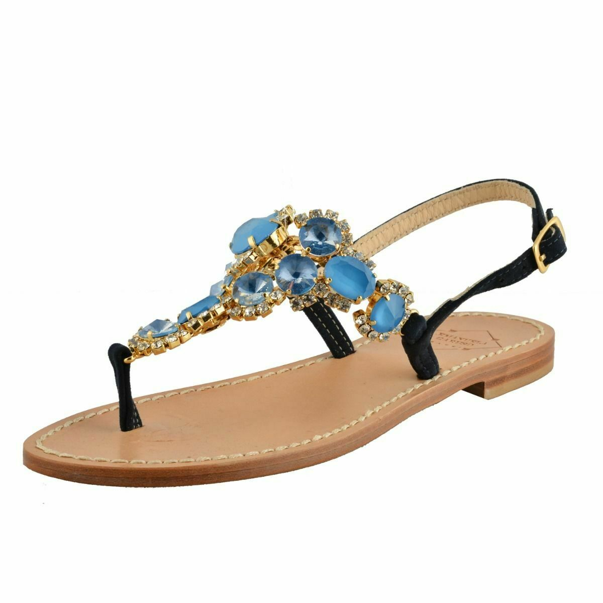 Emanuela Caruso  Capris  Mujer Piedrería Adorno Plano Sandalias Zapatos Tamaño 5