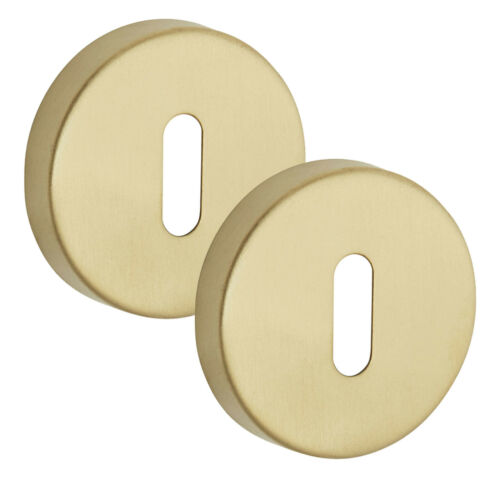 Satin Brass Keyhole Cover Pair 10mm Standard Profile