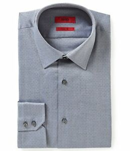 eef825f4 HUGO BOSS C-MENZO US RED LABEL DRESS SHIRT CLASSIC FIT DOTTED GRAY ...