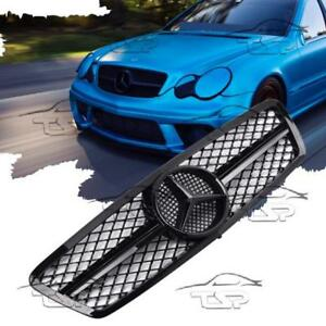 Details About Front Black Gloss Grill For Mercedes Class C W203 S203 Amg Look Spoiler 203070 G