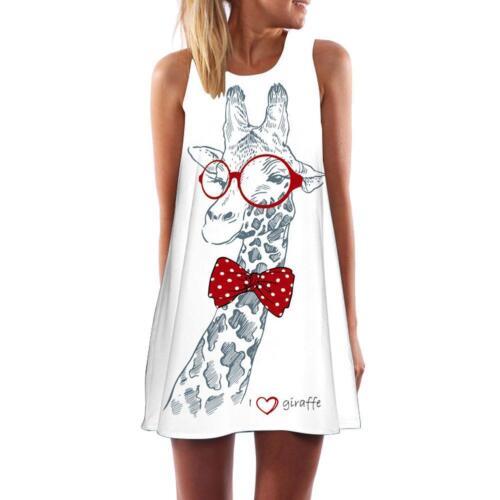 Frauen Dame Mode Tank Top Minikleid Floral Party Lose Tunika Shirt//