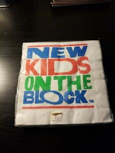 NEW-KIDS-ON-THE-BLOCK-VINTAGE-1989-6-5x6-75-napkins-16-Birthday-Supplies