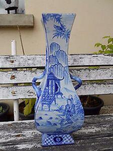 Grand-vase-St-clement-XIXeme-decor-asiatique-pagode-personnages-48-cm-de-haut