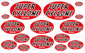 SUPER CYCLONE POWERED Engine Tether Plane RC Car Toy Waterslide Decal Set RED