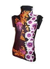Ladies New Design Baroque Print Embellish Diamonds Under Jacket Polo Blouse V95